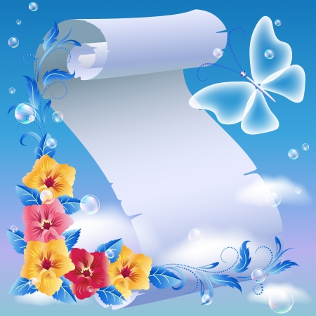 Parchment and flowers in the sky Vector