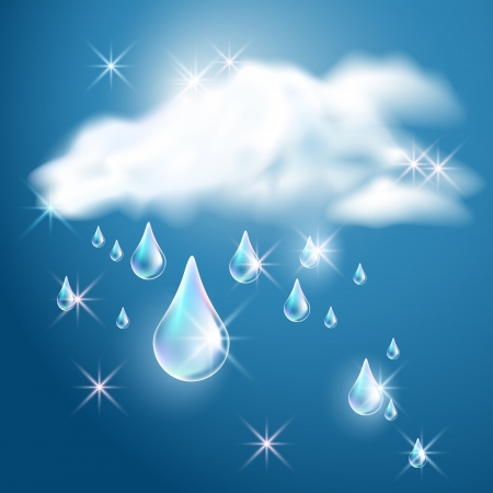 point chaud: Nuages ??et pluie dans le ciel bleu fonc� Illustration