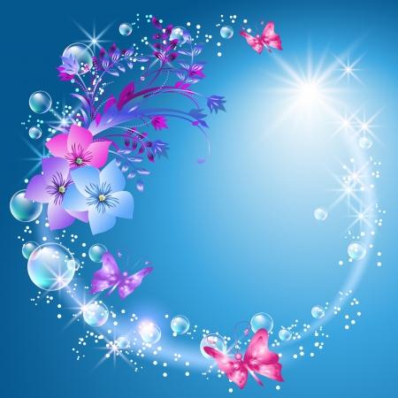 Flores y mariposas en el cielo