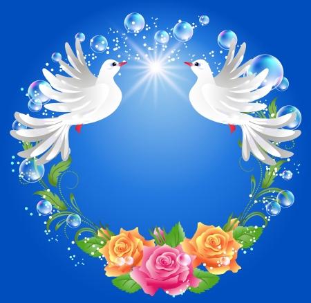 Zwei Tauben auf blauem Hintergrund mit Rosen
