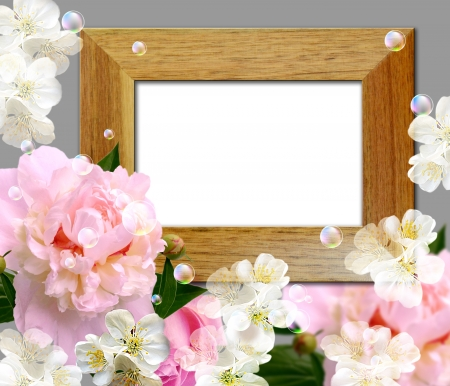 Card with peony and wooden photo frame Stock Photo - 14676307