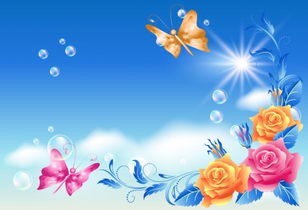 Roses and butterfly in the blue sky Vector