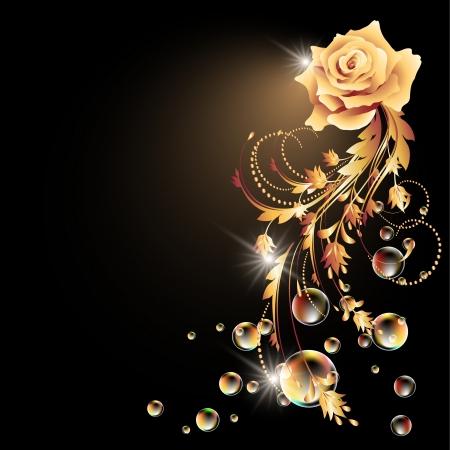rosas negras: De fondo que brilla intensamente con el oro rosa, estrellas y burbujas Vectores