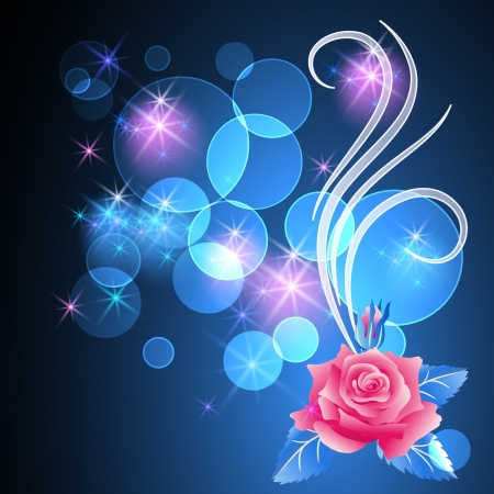 light beams: Glowing background with rose and stars