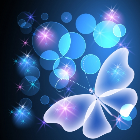 Glowing background with transparent butterfly and stars Stock Vector - 14769253