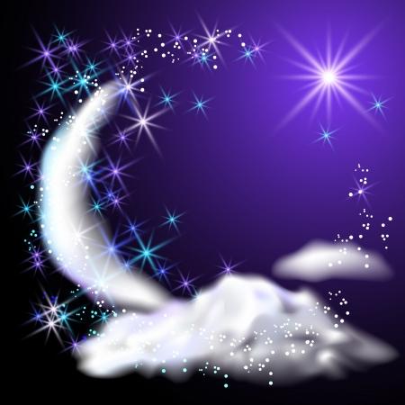 Mond, Sterne und Wolken am Nachthimmel Illustration