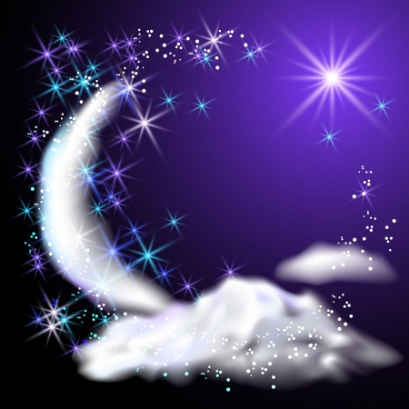 Moon, stars and clouds in the night sky Stock Vector - 14937693