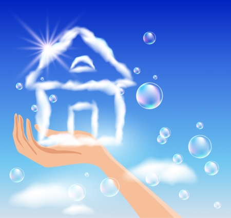 The hand holds a cloud house in the sky Stock Vector - 14937691