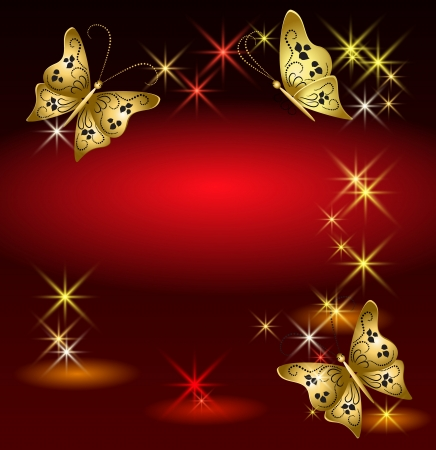 Glowing background with butterflies and stars Stock Vector - 14937692