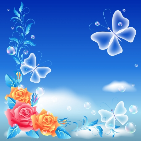 Roses and transparent butterfly in the blue sky Vector