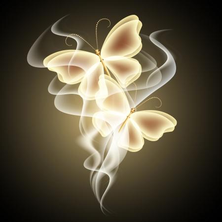 光る背景に煙、蝶  イラスト・ベクター素材