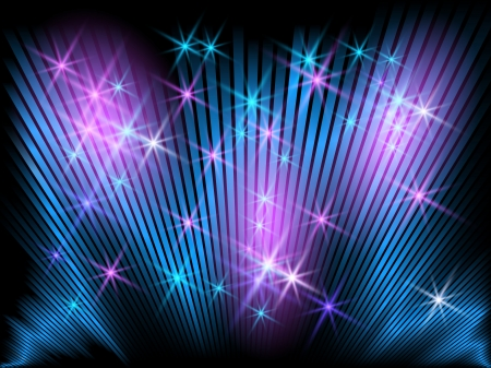 Background with glowing striped and stars