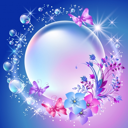 butterfly wings: Flowers and bubbles in the sky Illustration