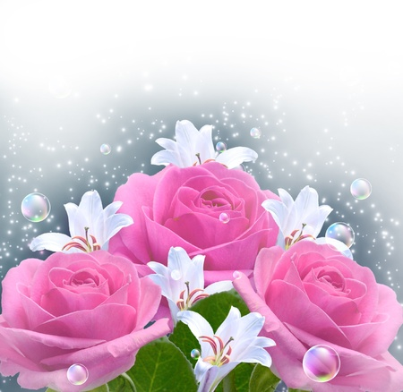 Pink roses and bubbles  photo
