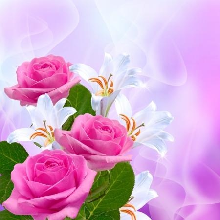 ピンクのバラと白いユリ 写真素材