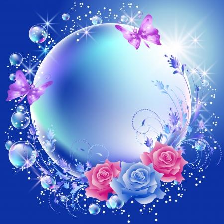 Blumen, Schmetterlinge und Blasen Illustration