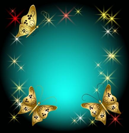 蝶や星の輝く背景  イラスト・ベクター素材