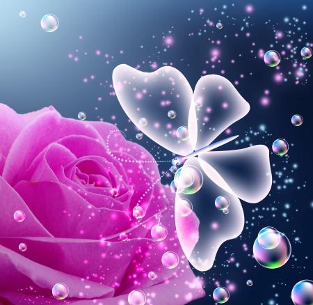 Rose, bubbels en transparante vlinder Stockfoto