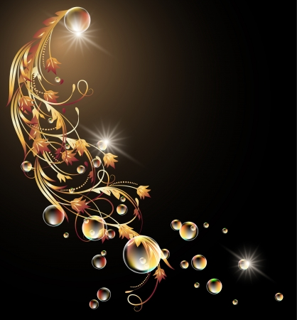 Glowing background with golden ornament, stars and bubbles