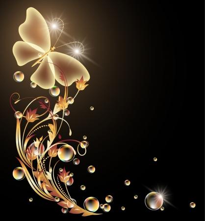 Fondo que brilla intensamente con el ornamento de oro y la mariposa