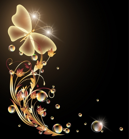 Glowing background with golden ornament and butterfly Çizim