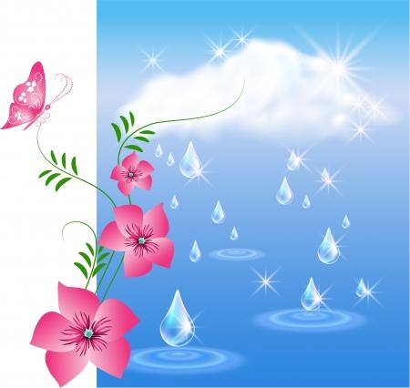 wet flies: Rain in the dark blue sky and flowers