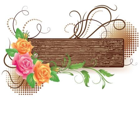 装飾的なバラと抽象的な木製看板