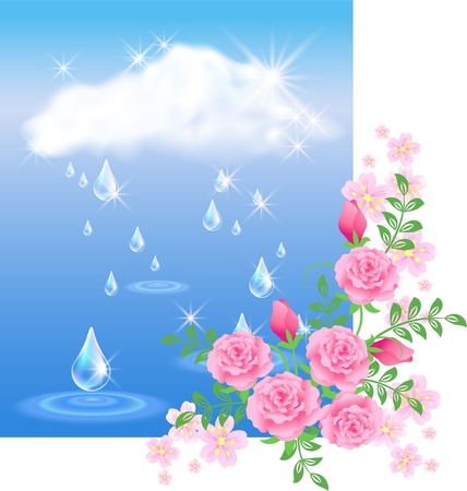 wet flies: Rain in the dark blue sky and roses