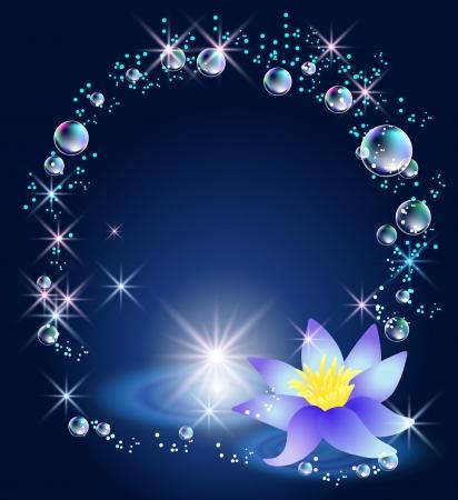 魔法のユリ、星、泡  イラスト・ベクター素材