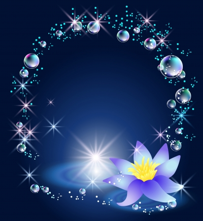 Magic lily, stars and bubbles Illustration