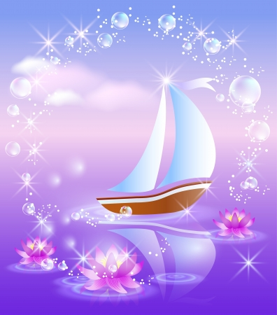 pink sky: Sailing boat and violet lilies against purple sunset