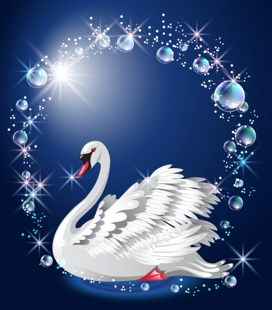 Elegant white swan on blue background and bubbles frame