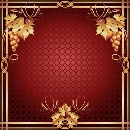 romanticism: Background with golden vine ornament