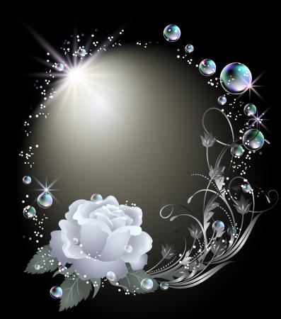 Zářící pozadí s růží, hvězdy a bubliny