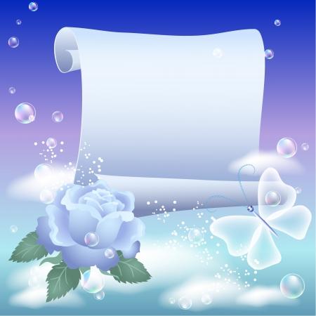 羊皮紙および天空の花  イラスト・ベクター素材