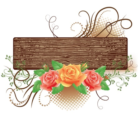 Abstract wooden signboard with decorative roses