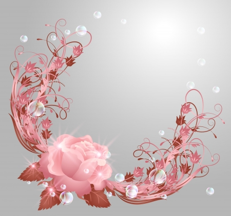 Glowing background with rose, stars and bubbles Vector