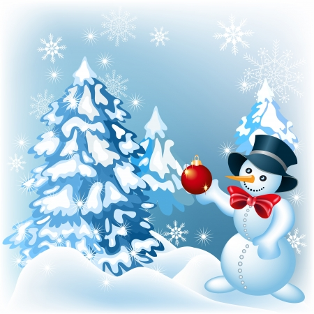 Snowman decorates a Christmas tree Stock Vector - 15602293