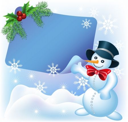fir branch: Christmas greetings card with paper and Snowman
