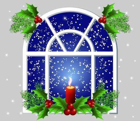 Christmas window with candles Vector