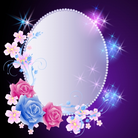 Glowing background with magic billboard, flowers and stars Vectores