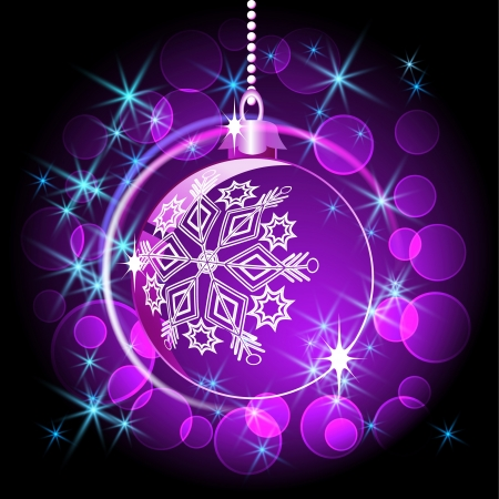 fur tree ornament: Christmas ball with sparkling stars and boke