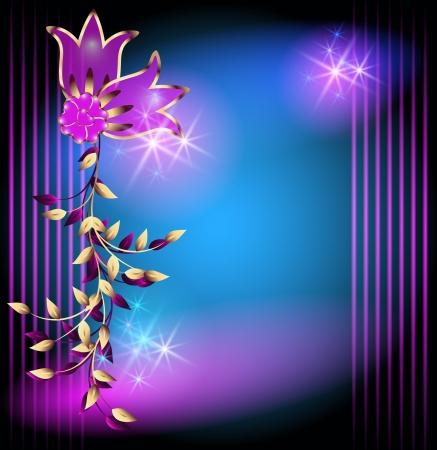Glowing background with magic flowers and stars Stock Vector - 15691079
