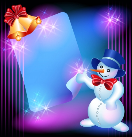Christmas greetings card with Snowman, chiming bells and signboard Vector