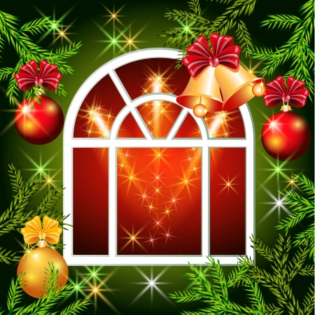 Christmas window with bells, balls and spruce branches Stock Vector - 15735978