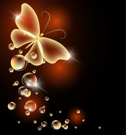 Glowing background with transparent butterfly and bubbles Stock Illustratie