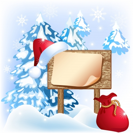 bagful: Christmas wooden signboard with santa hat and bag