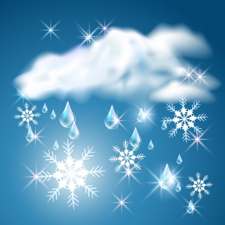 Rain and snow in the blue sky with clouds