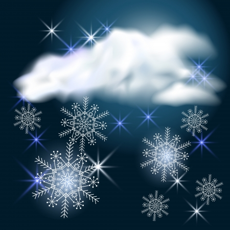 flecks: Snowy weather  Clouds, stars and snowflakes