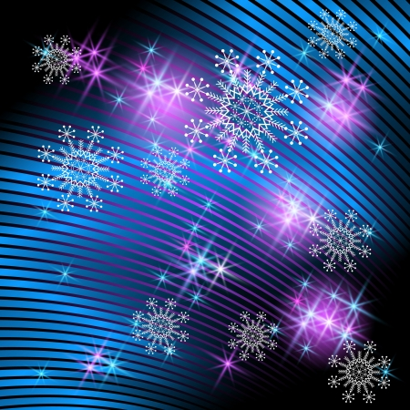 Christmas background with snowflakes and fireworks Vector